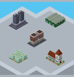 Isometric building set of tower house warehouse vector