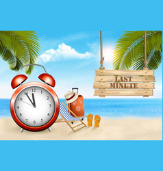last minute summer vacation background alarm vector image