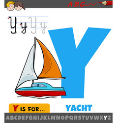 Letter y from alphabet with cartoon yacht vector