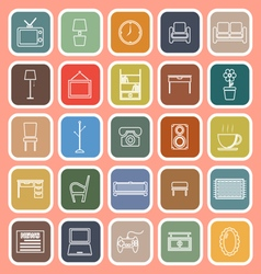 Living room line flat icons on orange background vector