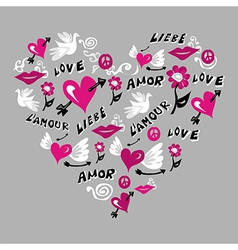 Love symbols in heart shape vector image