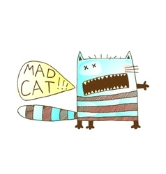 Mad cat freaky funny hand drawn animal watercolor vector