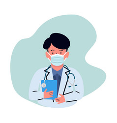 Man doctor with medical mask vector