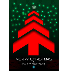 merry christmas and happy new year red arrow green vector image