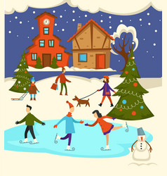 merry christmas town celebration people having vector image