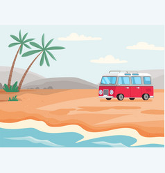 minibus for staying and living on beach mobile vector image