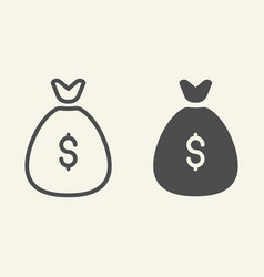 money bag line and glyph icon investment vector image