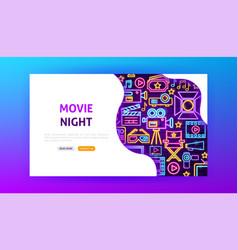 movie night neon landing page vector image