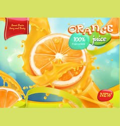 Orange juice sweet fruits 3d realistic package vector