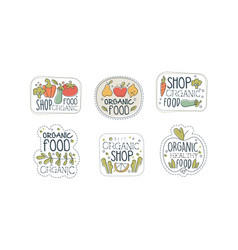 organic food shop labels set eco healthy natural vector image
