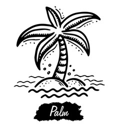 Palm isolated on white background vintage black vector