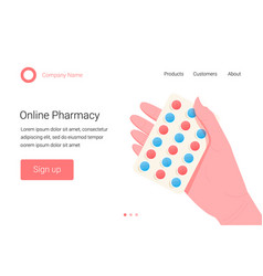 pharmacy medicine landing page template vector image