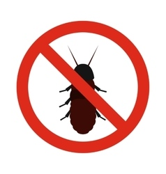 Prohibition sign coleoptera icon flat style vector image