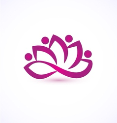 Purple lotus flower logo vector