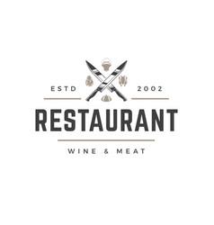 Restaurant logo template object for vector