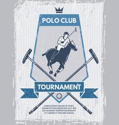 retro poster polo club template vector image