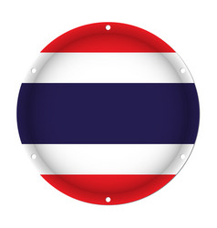 Round metallic flag of thailand with screw holes vector