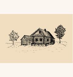 Rural landscape hand drawn vector