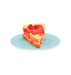 sandwich with strawberry jam food for breakfast vector image