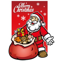 Santa with a bunch christmas gift vector