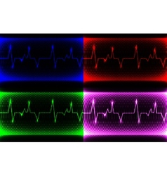 Set colorful human heart normal sinus rhythm vector