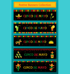 Set of 5 celebration cinco de mayo web banner vector