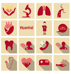 set of medecine icons in flat style with long vector image