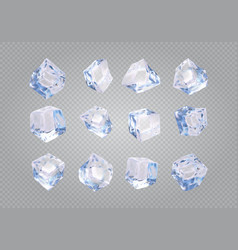 set of twelve transparent ice cubes vector image