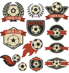 set soccer club emblems design element vector image