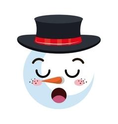 Snowman happy face cartoon vector
