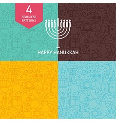Thin Line Happy Hanukkah Holiday Patterns Set vector image