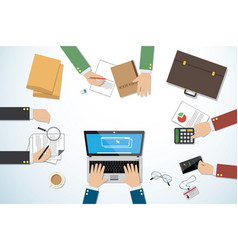 top view business desk with hands and tools vector image