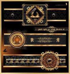 Vintage black gold frame label vector