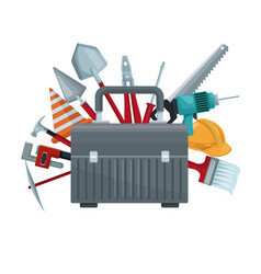 White background with suitcase of tool with vector