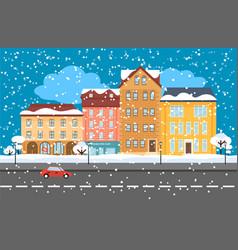 Winter cityscape flat concept vector