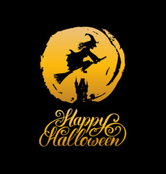 witch with happy halloween vector image
