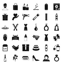 woman thing icons set simple style vector image