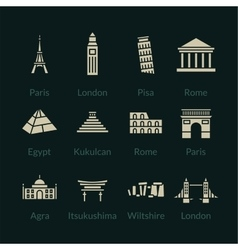 World landmarks outline icons set vector image