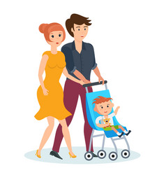 Young family walking in park spends time together vector
