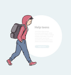 Young teen boy with backpack line art flat vector