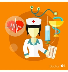 Doctor nurse concept flat icons set vector image vector image