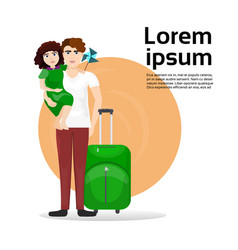 father and daughter with luggage suitcase over vector image