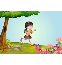 girl running in a beautiful nature vector image vector image