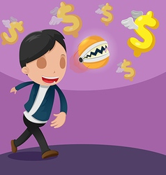 Man Catch Dollar Currency Money vector image vector image