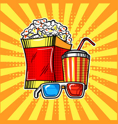 popcorn drink and colorful cinema glasses vector image vector image