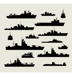 silhouettes of warships vector image