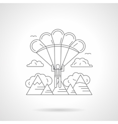 Skydiving in mountains detailed line icon vector image
