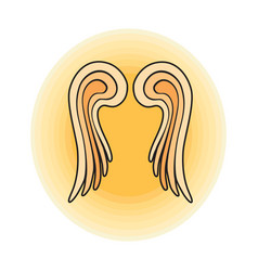 Wings angel sign outline vector