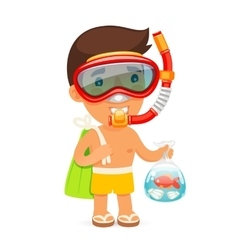 Young Man in Swim Mask Keeps Bag with Fish vector image