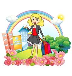 A woman with shopping paper bags vector image vector image
